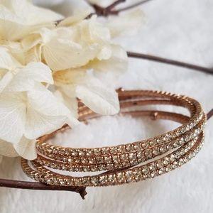 Jewelry - Rose Gold Rhinestone Wrap Bracelet, NWOT